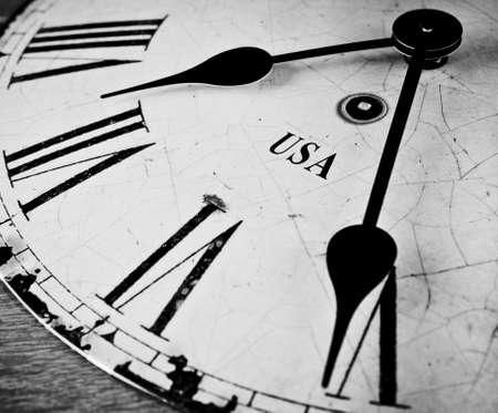 timescale: USA time black and white clock