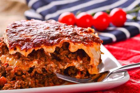 carne picada: El hogar hizo lasaña de carne