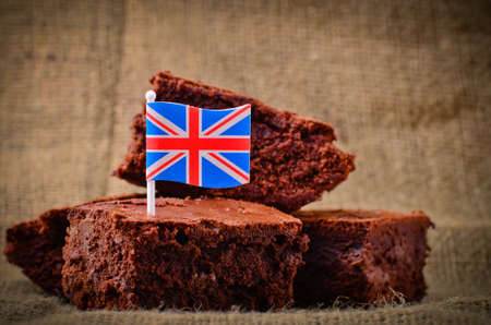 british food: Home made chocolate brownies with Union Jack British flag