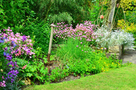 ornamental garden: English country garden flower borders