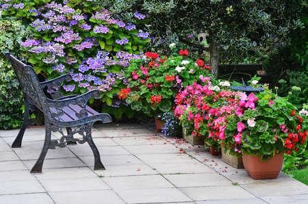 English country garden patio area