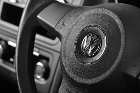 Vw badge on steering wheel.LEEDS - SEPTEMBER 24: Volkswagen admit to fitting diesel engined vehicles with devices which could effect the outcome of emissions tests, September 24, 2015 Leeds, England.