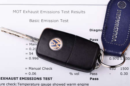 mot: LEEDS - SEPTEMBER 26: Mot exhaust emissions test result. Volkswagen admit to fitting diesel engined vehicles with devices which could effect the outcome of emissions tests, September 26, 2015 Leeds.