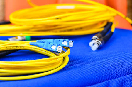 Fiber optic cables and connections Stock Photo