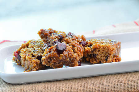 granola bar: Fresh home made sticky cranberry flapjack