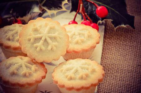 christmas pudding: Christmas mince pies Stock Photo
