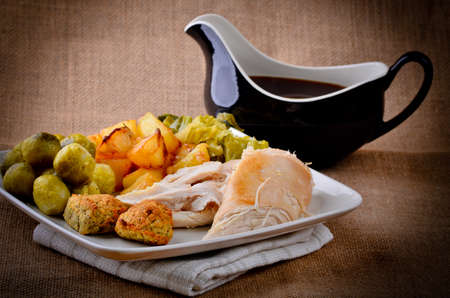 gravy: Sunday dinner with gravy boat