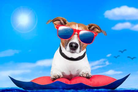 hond op een matras op de oceaan Stockfoto