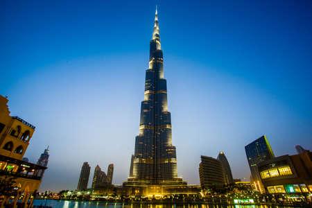 dubai mall: burj khalifa dubai at dusk Editorial