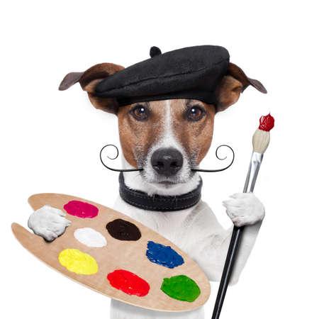 pintora: artista pintor perro paleta de colores Foto de archivo