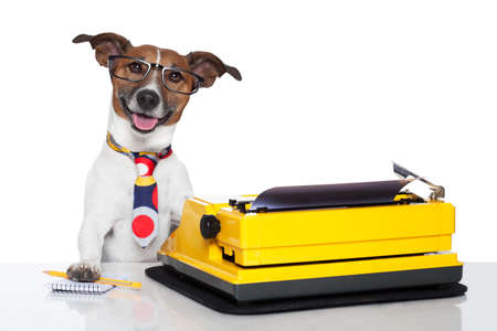 authors: business dog typewriter tie glasses