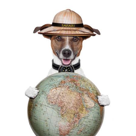 globetrotter: travel globe compass dog safari explorer