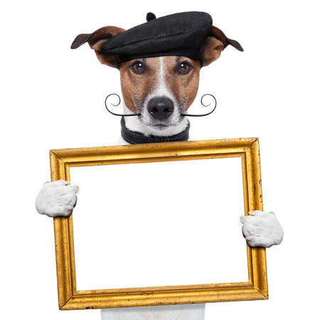 painter artist frame holding dog photo