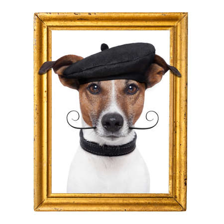 picture person: painter artist frame  dog Stock Photo