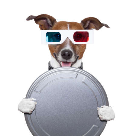 3d film: movie film canister 3d glasses dog