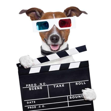 blockbuster: movie clapper board 3d glasses dog