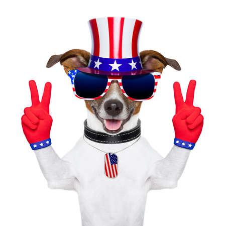 fourth of july: pace americano e la vittoria dita cane con i guanti rossi e occhiali