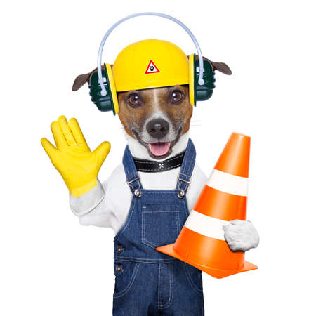 funny under construction dog asking to stop photo