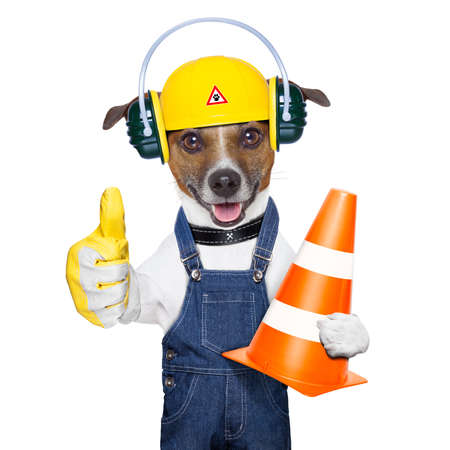 work safety: funny under construction dog with thumb up