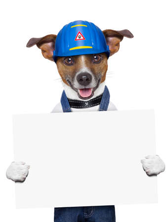 craftsmen: craftsman dog holding a placard with paws