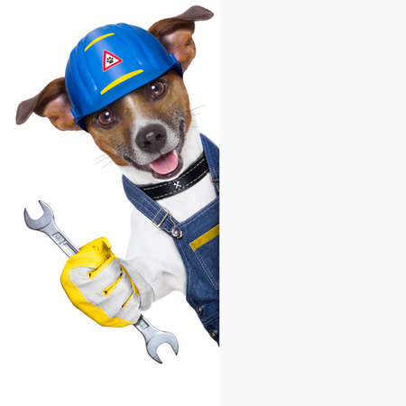 craftsman dog with tool behind a placard photo
