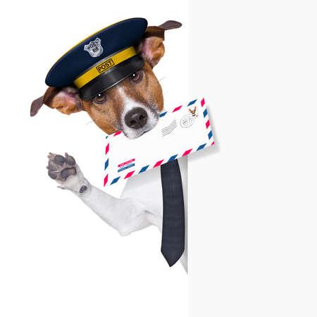 mail hond achter de banner en zwaaien Stockfoto