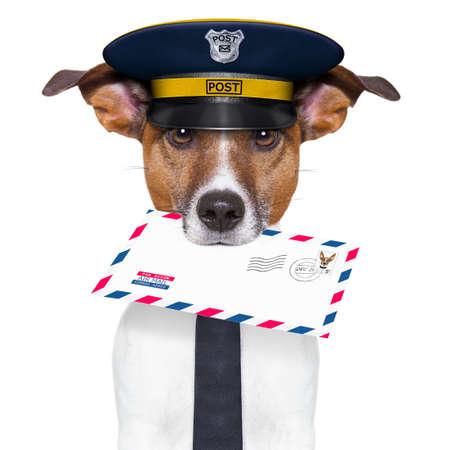 cartero: perro cartero correo con una carta de correo a?reo Foto de archivo