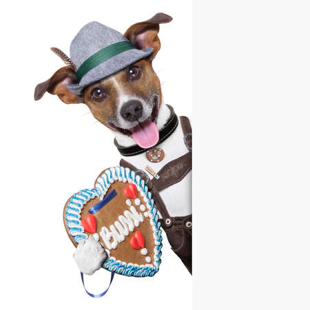 oktoberfest dog ,smiling happy holding a placard photo