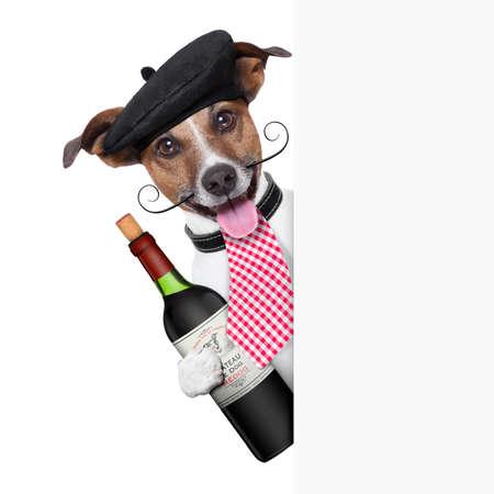 Franse hond met rode wijn en achter plakkaat