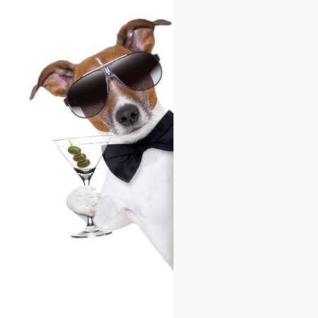 anniversaire: chien grillage avec un verre à martini derrière une banderole de plaquette blanc