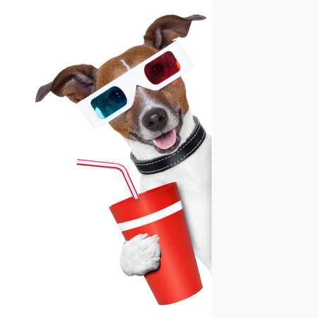 movies: 3d glasses dog with coke with side banner Stock Photo