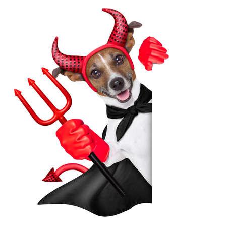 devil dog behind a blank white banner