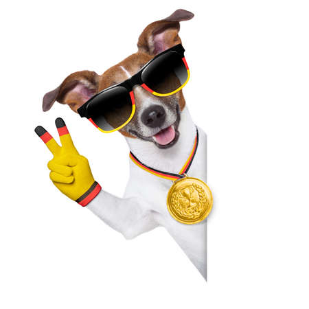 german dog with peace fingers  behind banner photo