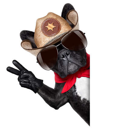 bandana western: peace or victory fingers cowboy dog beside white blank banner oder placard