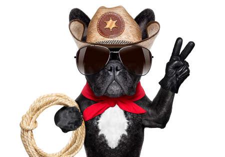 frais chien de cow-boy avec les doigts de la paix ou la victoire et une corde