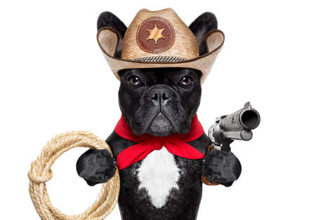bandana western: western cowboy with rope , red scarf and pistol