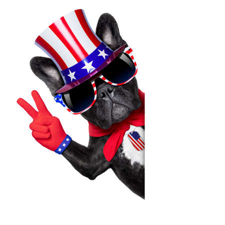 french bulldog with victory and peace fingers behind a white blank banner or placard photo