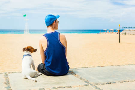 dog with owner looking at the beach photo