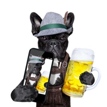 bavarian dog taking a selfie while holding a beer mug