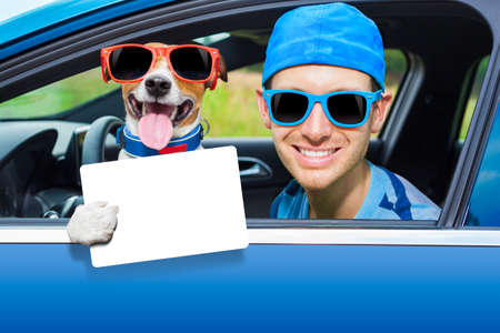 dog in a car looking through window with Driving instructor showing a blank and empty  drivers license Standard-Bild