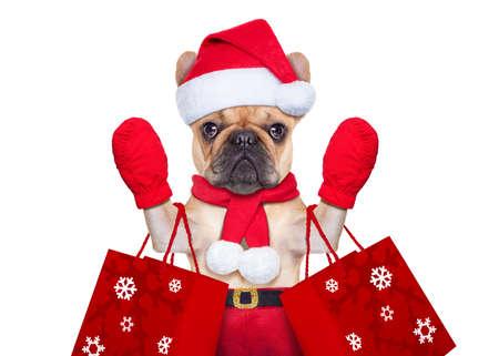 weihnachtsmann lustig: Weihnachtsmann-Weihnachts Hund isoliert auf weißem Hintergrund, Hände winken und Einkaufsmöglichkeiten vor Verkauf