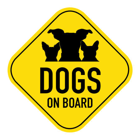 cartoon board: dogs group row silhouette illustration  on yellow placard sign,showing the words dogs on board, isolated on white background