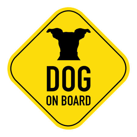 russell: jack russell Dog  silhouette illustration on yellow placard sign,showing the words dog on board, isolated on white background
