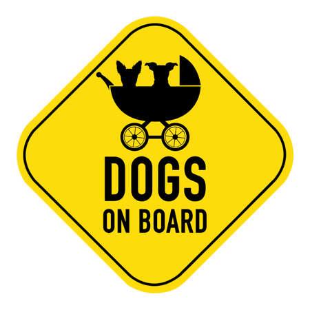 bebe a bordo: Perros silueta ilustraci�n del interior cochecito de beb� en la muestra del cartel de color amarillo, que muestra las palabras perros a bordo, aislado en fondo blanco Foto de archivo