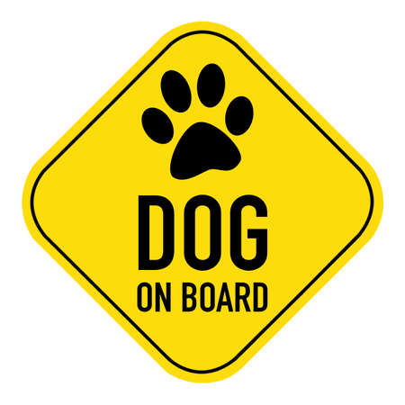 paw silhouette illustration on yellow placard sign,showing the words paw on board, isolated on white background