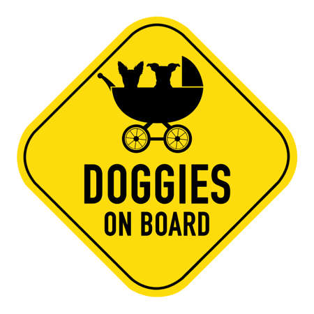 doggies: Dogs silhouette illustration inside baby stroller on yellow placard sign,showing the words doggies on board, isolated on white background