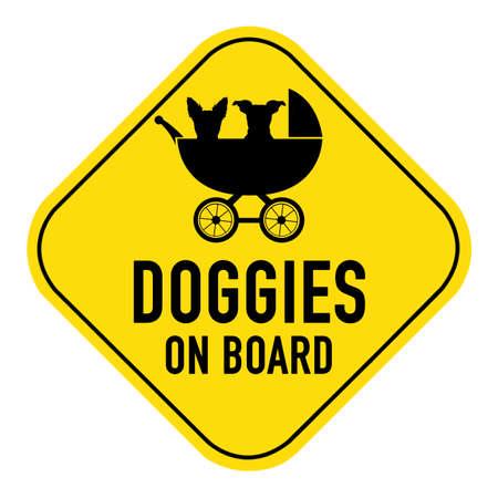 bebe a bordo: Perros silueta ilustraci�n del interior cochecito de beb� en la muestra del cartel amarillo, mostrando los perritos de las palabras de a bordo, aislado en fondo blanco Foto de archivo