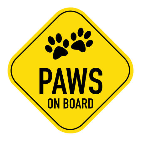 placard: paws silhouette  illustration on yellow placard sign,showing the words paws on board, isolated on white background Stock Photo