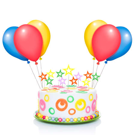 happy birthday cake or tart with candles  very colorful and looking very tasty, with balloons ,  isolated on white background photo