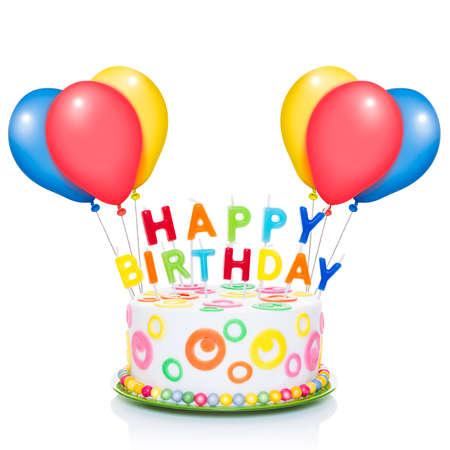 pastel cumpleaños: pastel de cumpleaños feliz o tarta con velas muy coloridos y mirando muy sabroso, con globos, aislados en fondo blanco